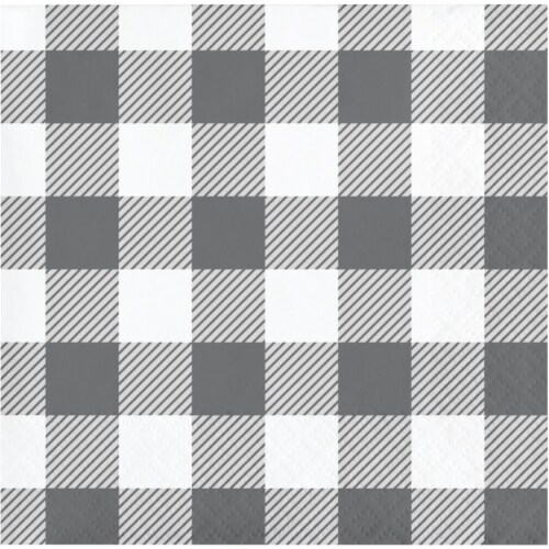 Creative Converting 346138 5 x 5 in. Buffalo Check Beverage 1 by 4 Fold 2-Ply Tissue Napkins, Perspective: front