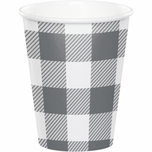 Creative Converting 346139 9 oz Buffalo Check Cups, Gray & White - 96 Count Perspective: front