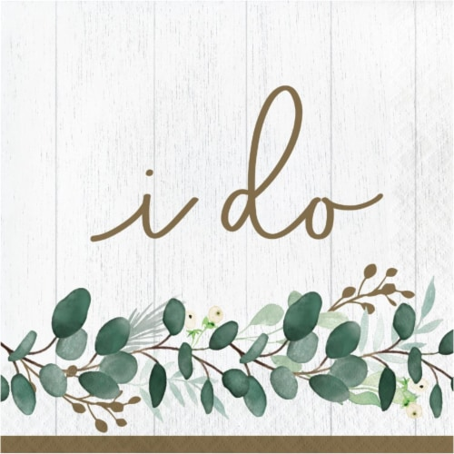 Creative Converting 346146 6.5 x 6.5 in. Eucalyptus I Do Luncheon 1 by 4 Fold 2-Ply Tissue Na Perspective: front