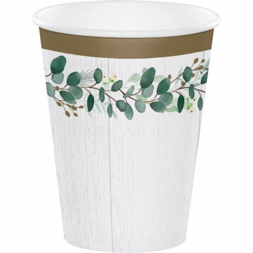 Creative Converting 346149 12 oz Eucalyptus Cups - 96 Count Perspective: front