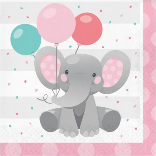 Creative Converting 346218 6.5 x 6.5 in. Enchanting Elephants Girl Luncheon 1 by 4 Fold 2-Ply Perspective: front