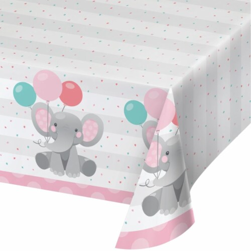 Creative Converting 346220 54 x 102 in. Enchanting Elephants Girl Paper Tablecloths - 6 Count Perspective: front