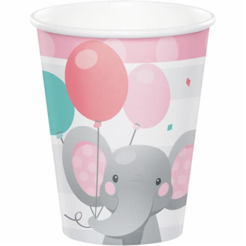 Creative Converting 346221 9 oz Enchanting Elephants Girl Cups - 96 Count Perspective: front