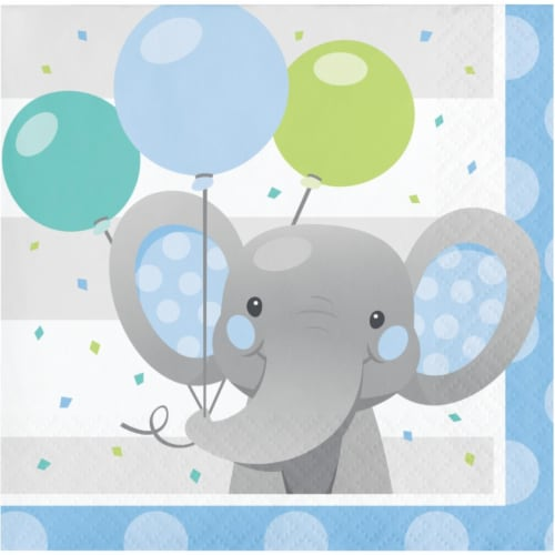 Creative Converting 346225 5 x 5 in. Enchanting Elephants Boy Beverage 1 by 4 Fold 2-Ply Tiss Perspective: front