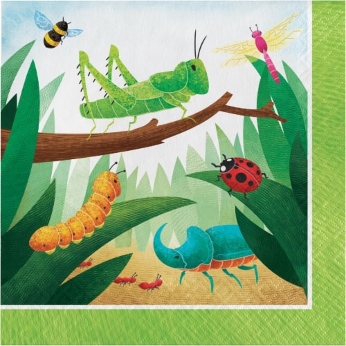 Creative Converting 346236 6.5 x 6.5 in. Birthday Bugs Luncheon 1 by 4 Fold 2-Ply Tissue Napk Perspective: front