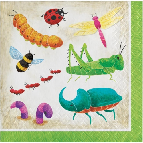Creative Converting 346238 5 x 5 in. Birthday Bugs Beverage 1 by 4 Fold 2-Ply Tissue Napkins Perspective: front
