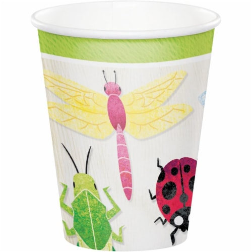 Creative Converting 346240 9 oz Birthday Bugs Cups - 96 Count Perspective: front