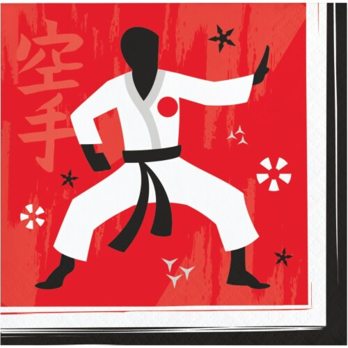 Creative Converting 346245 5 x 5 in. Karate Party Beverage 1 by 4 Fold 2-Ply Tissue Napkins - Perspective: front