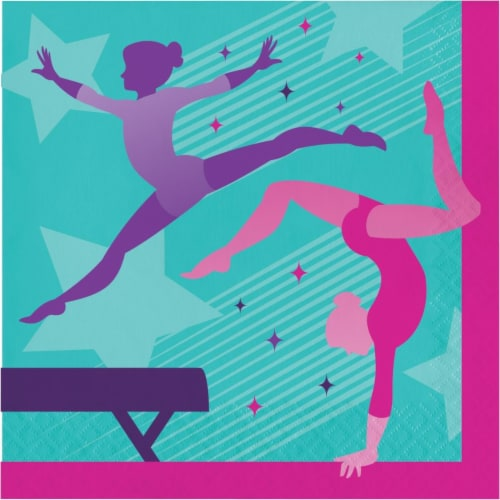 Creative Converting 346256 6.5 x 6.5 in. Gymnastics Party Luncheon 1 by 4 Fold 2-Ply Tissue N Perspective: front