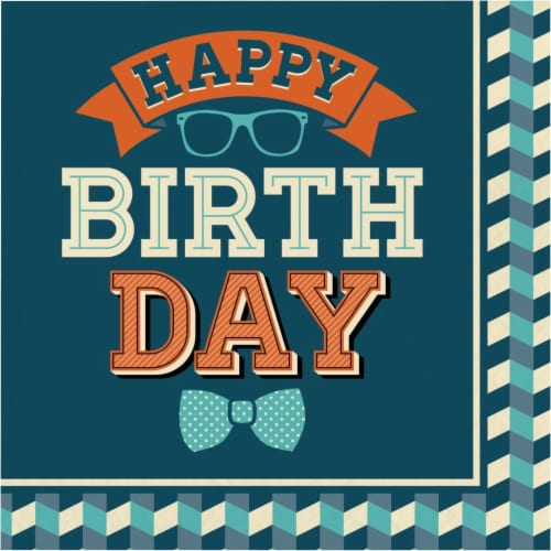 Creative Converting 346263 6.5 x 6.5 in. Hipster Happy Birthday Luncheon 1 by 4 Fold 2-Ply Ti Perspective: front
