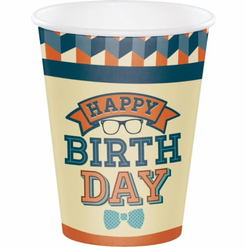 Creative Converting 346266 12 oz Hipster Birthday Cups - 96 Count Perspective: front