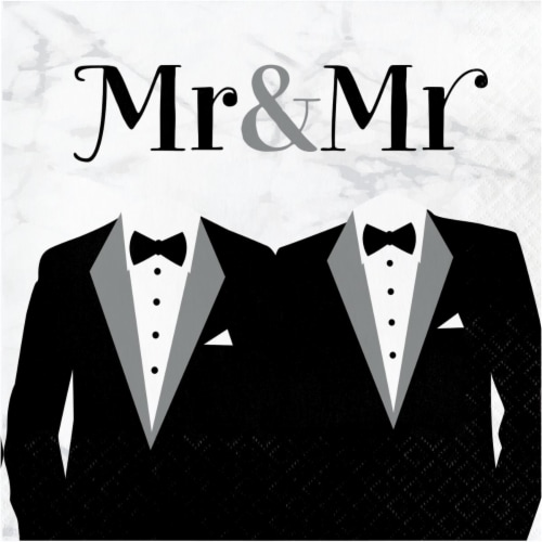 Creative Converting 346269 6.5 x 6.5 in. Mr. & Mrs. Wedding Luncheon 1 by 4 Fold 2-Ply Tissue Perspective: front