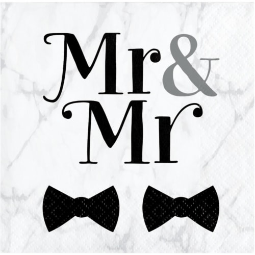 Creative Converting 346270 5 x 5 in. Mr. & Mr. Wedding Beverage 1 by 4 Fold 2-Ply Tissue Nap Perspective: front