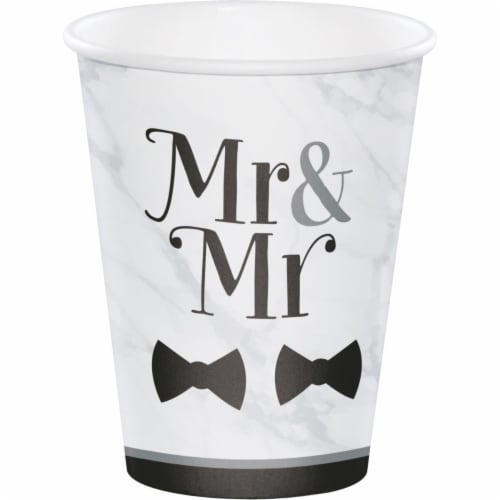 Creative Converting 346272 12 oz Mr. & Mr. Wedding Cups - 96 Count Perspective: front