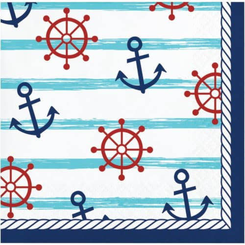 Creative Converting 346279 5 x 5 in. Nautical Baby Shower Beverage 1 by 4 Fold 2-Ply Tissue N Perspective: front