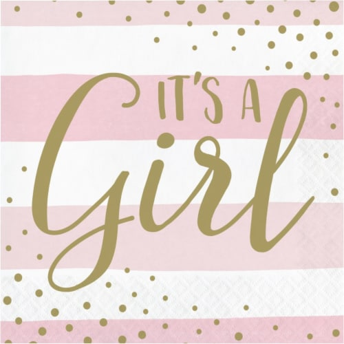 Creative Converting 346286 6.5 x 6.5 in. Celebration Its a Girl Luncheon 1 by 4 Fold 2-Ply Ti Perspective: front