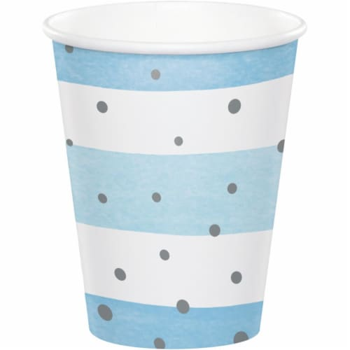 Creative Converting 346295 9 oz Celebration Cups, Blue & Silver - 96 Count Perspective: front