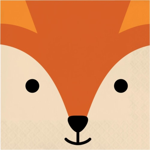 Creative Converting 346298 6.5 x 6.5 in. Fox Luncheon 1 by 4 Fold 2-Ply Tissue Napkins - 192 Perspective: front
