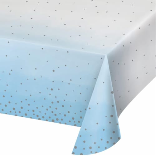Creative Converting 346302 54 x 102 in. Celebration Paper Tablecloths, Blue & Silver - 6 ct Perspective: front