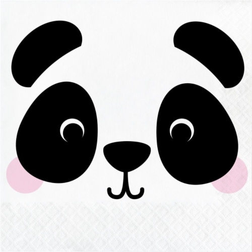 Creative Converting 346303 6.5 x 6.5 in. Panda Luncheon 1 by 4 Fold 2-Ply Tissue Napkins - 19 Perspective: front
