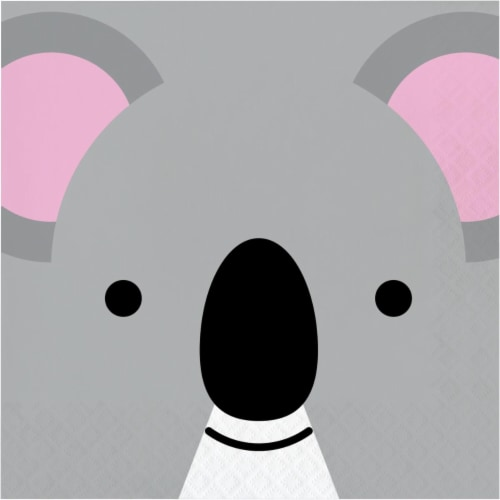 Creative Converting 346314 6.5 x 6.5 in. Koala Luncheon 1 by 4 Fold 2-Ply Tissue Napkins - 19 Perspective: front