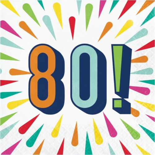 Creative Converting 346318 6.5 x 6.5 in. Birthday Burst 80 Luncheon 1 by 4 Fold 2-Ply Tissue Perspective: front