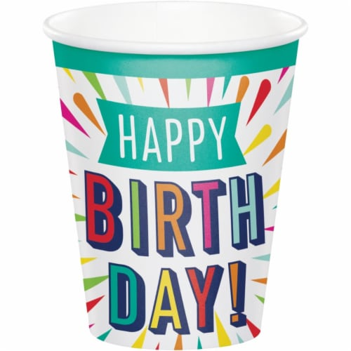 Creative Converting 346329 9 oz Birthday Burst Cups - 96 Count Perspective: front