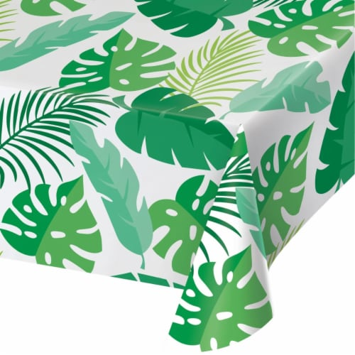 Creative Converting 346629 54 x 108 in. Palm Leaves Table Cloth - 6 Count Perspective: front