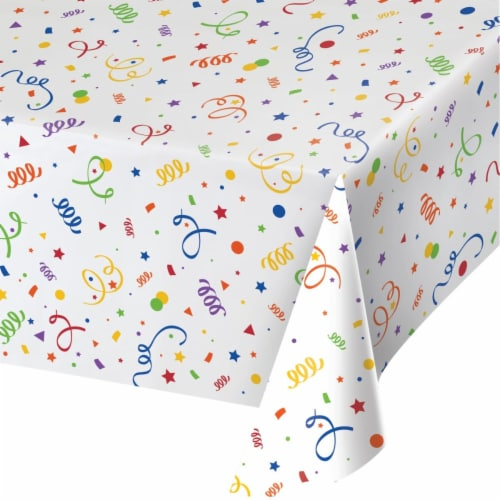 Creative Converting 346630 54 x 108 in. Confetti Table Cloth - 6 Count Perspective: front