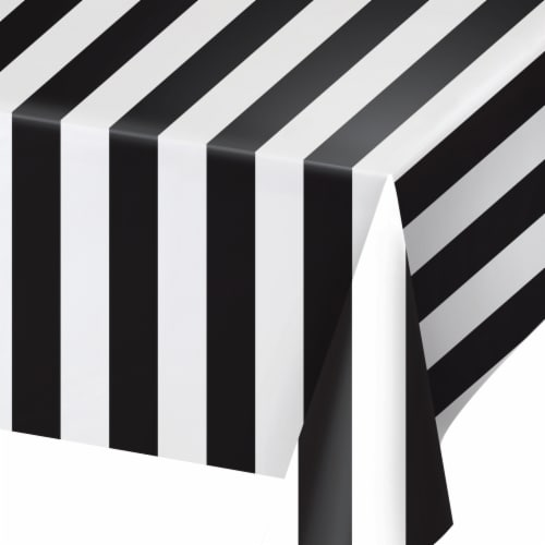 Creative Converting 346632 54 x 108 in. Table Cloth Stripes, Black & White - 6 Count Perspective: front