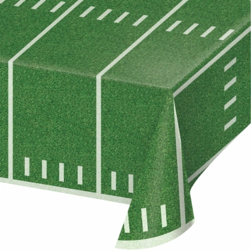 Creative Converting 346634 54 x 108 in. Football Field Table Cloth - 6 Count Perspective: front