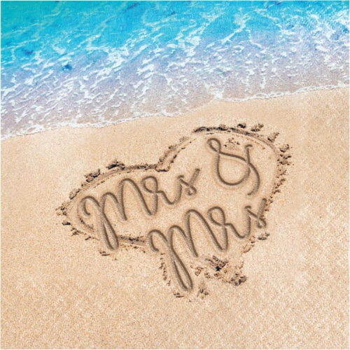 Creative Converting 346655 6.5 x 6.5 in. Beach Love Mrs. & Mrs. Luncheon 1 by 4 Fold 2-Ply Ti Perspective: front