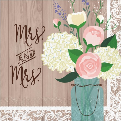 Creative Converting 346658 6.5 x 6.5 in. Rustic Wedding Mrs. & Mrs. Luncheon 1 by 4 Fold 2-Pl Perspective: front