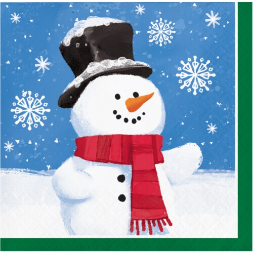 Creative Converting Smiling Snowmen Napkins 16 Pack Perspective: front