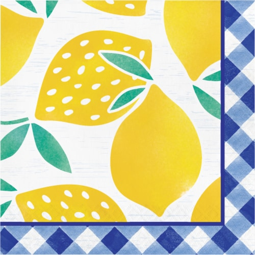 Creative Converting Gingham Lemonade Lunch Napkins 16 Pack Perspective: front