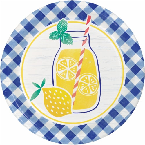 Creative Converting Gingham Lemonade Plates 8 Pack Perspective: front