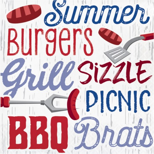 Creative Converting Summer BBQ Lunch Napkin 16 Pack Perspective: front