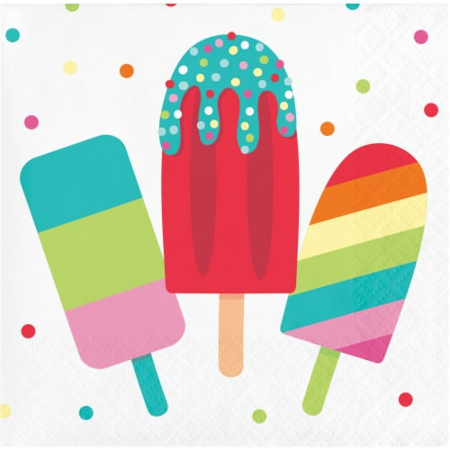 Creative Converting Summer Popsicle's Beverage Napkins16 Pack Perspective: front