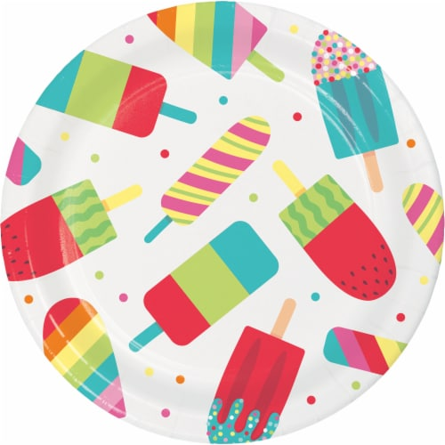 Creative Converting Summer Popsicle's Plates 8 Pack Perspective: front