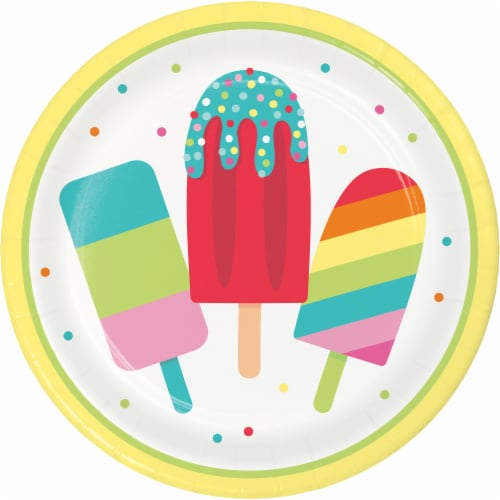 Creative Converting Summer Popsicle's Plate 8 Pack Perspective: front