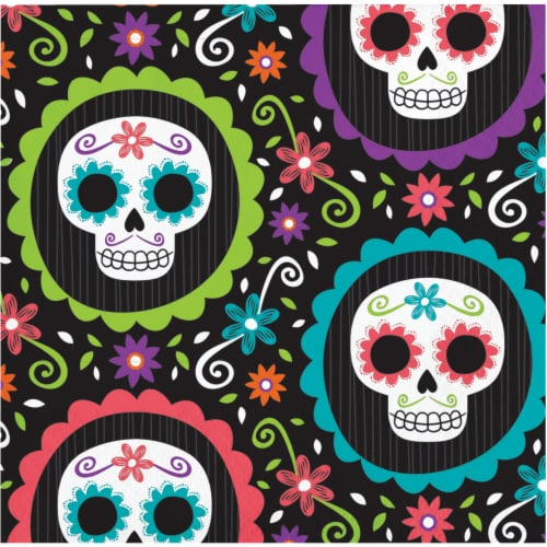 Creative Converting Day of the Dead Beverage Napkins Perspective: front