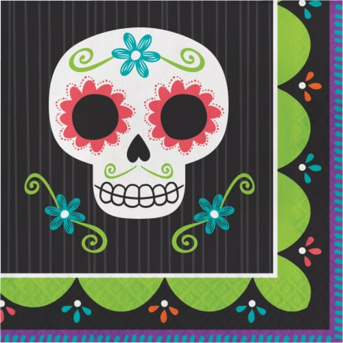 Creative Converting Day of the Dead Lunch Napkins Perspective: front