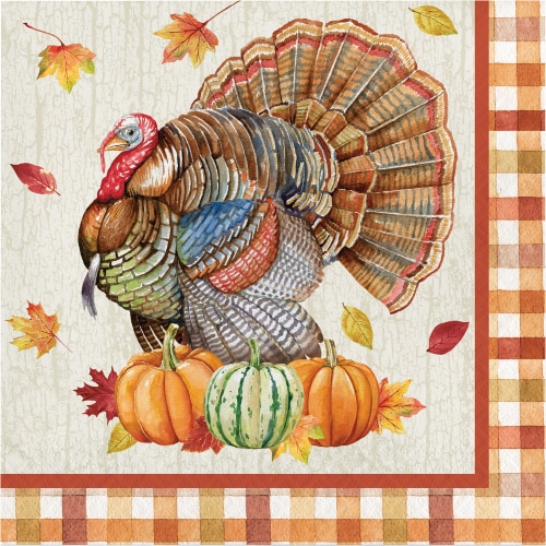 Creative Converting Harvest Turkey Lunch Napkins Perspective: front
