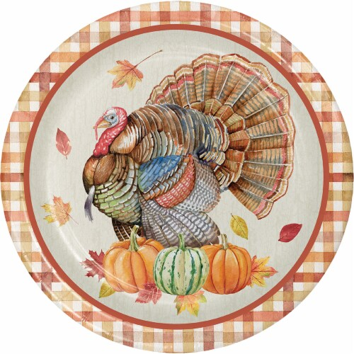 Creative Converting Harvest Turkey Plates Perspective: front