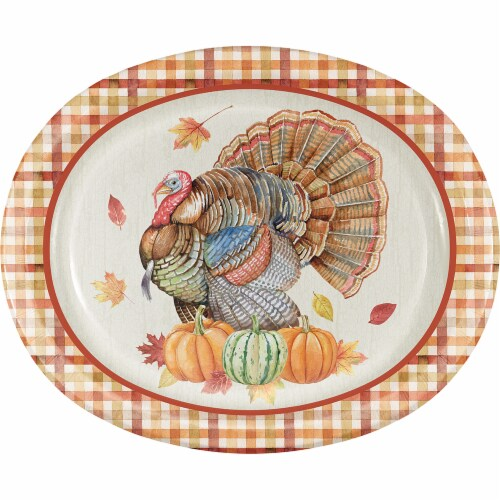 Creative Converting Harvest Turkey Oval Platters Perspective: front