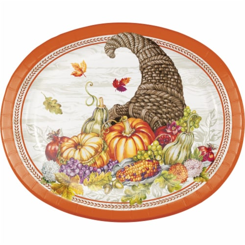 Creative Converting Plentiful Cornucopia Oval Platters Perspective: front