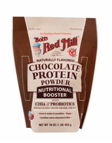 Bob's Red Mill Nutritional Booster Naturally Flavored Chocolate Protein Powder Perspective: front