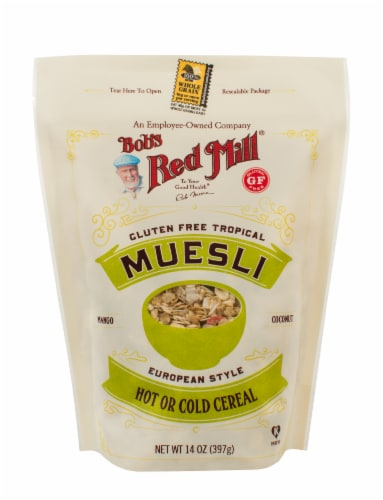 Bob's Red Mill Gluten Free Tropical Muesli European Style Cereal Perspective: front