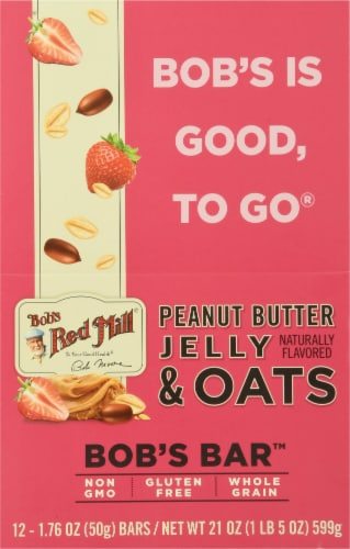 Bob's Red Mill Bob's Better Bar Peanut Butter Jelly and Oats Bars 12 Count Perspective: front
