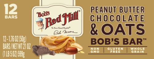 Bob's Red Mill Bob's Better Peanut Butter Chocolate & Oats Bar Perspective: front